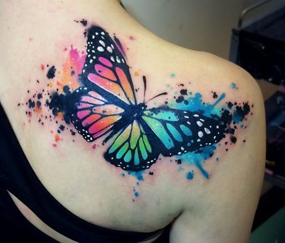 Watercolor butterfly tattoo designs for back