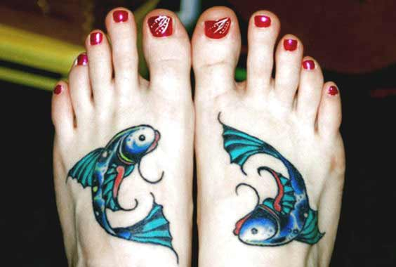 small pisces fish tattoos on leg