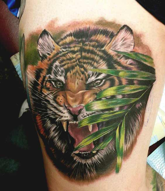 Tiger tattoo designs on thigh for girls