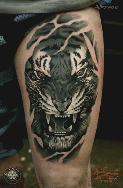 Angry tiger tattoo on thigh ideas for girls