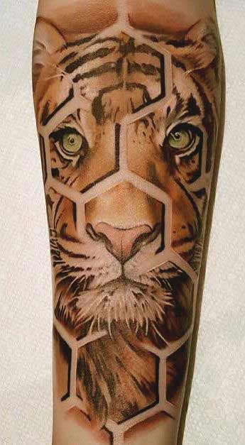 Geometrical tiger face tattoo on leg ideas for men