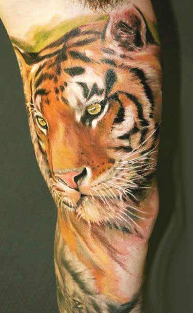 Tiger face tattoo designs under arm ideas for men and women