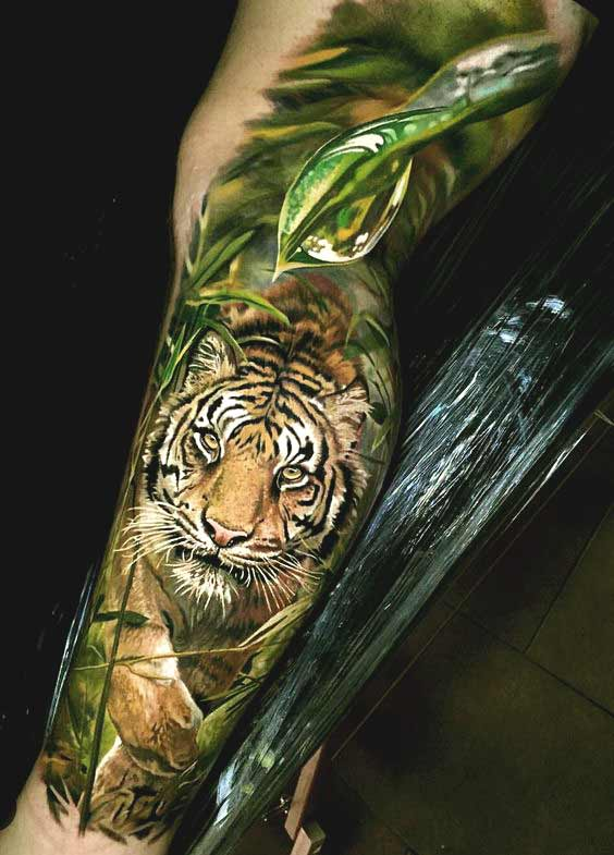 3D realistic tiger with Water drop tattoo on leg for men and women