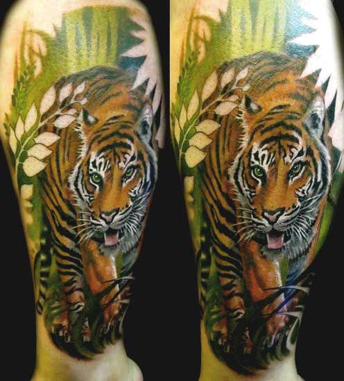 Tiger tattoo designs on thigh ideas for men and women