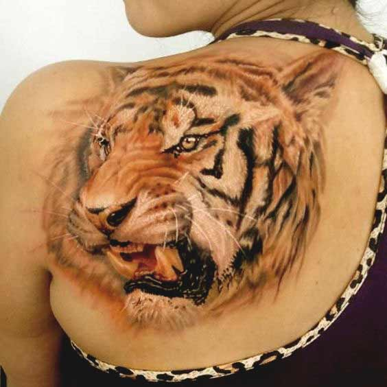 3D tiger face tattoo on back for girls width=