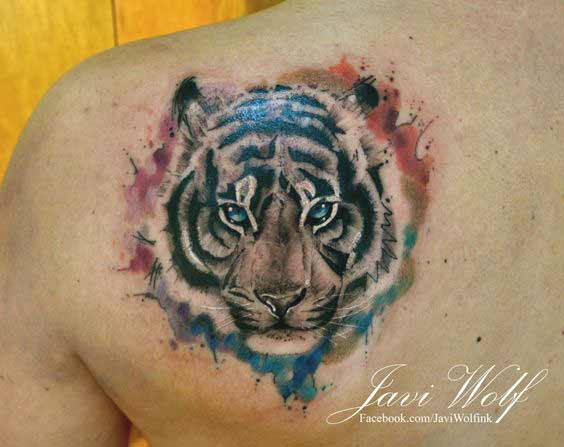 Watercolor tiger face tattoo on back designs for men