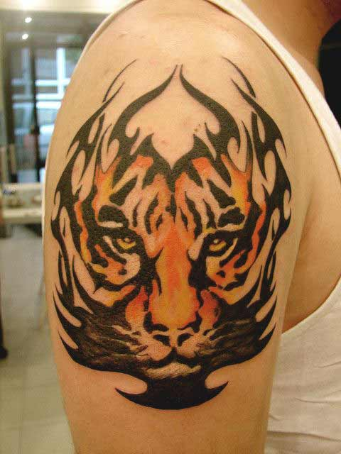 Traditional tiger face tattoo on arm for men