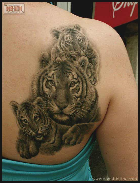 Tiger with cub tattoo design on back ideas for men and women