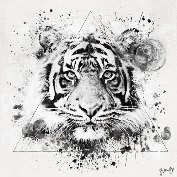 Geometric style Tiger tattoo ideas for men and women