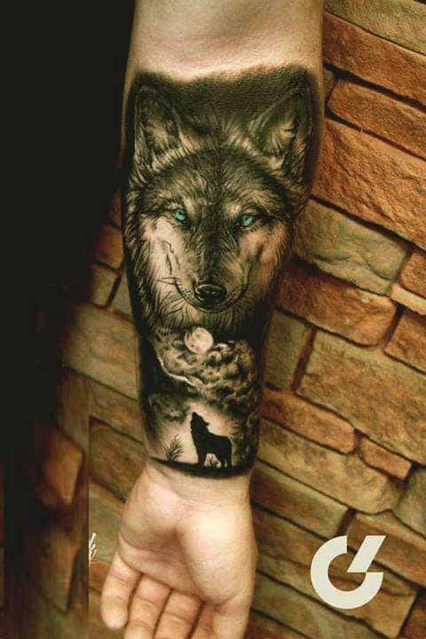 Wolf and moon inner forearm tattoos