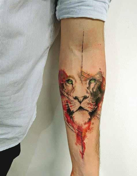 Watercolor lion Inner forearm tattoos