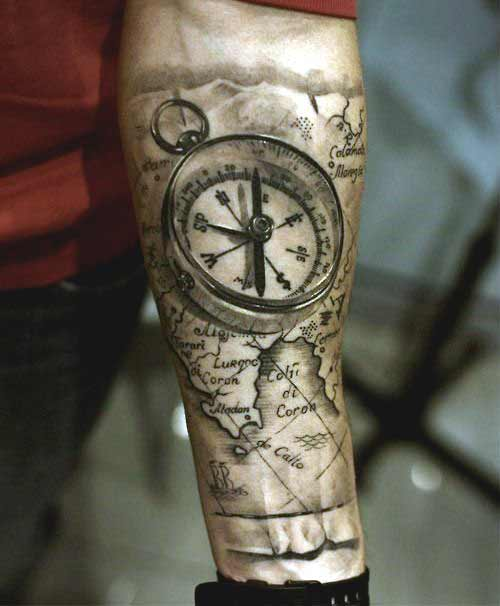 Compass and map inner forearm