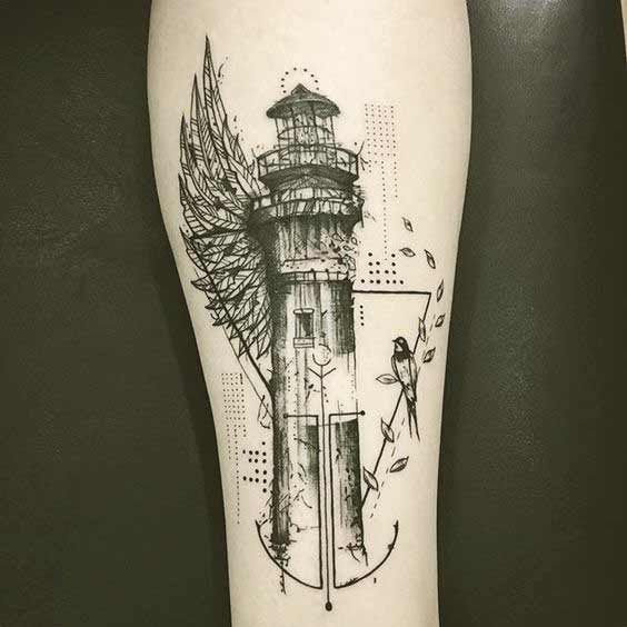 Lighthouse and wings inner forearm tattoo
