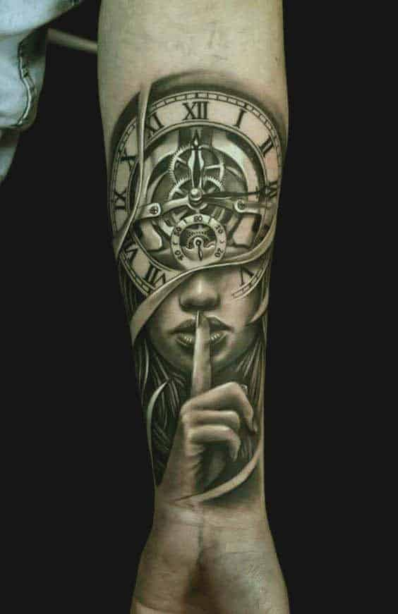 Clock and girl face tattoo for forearms