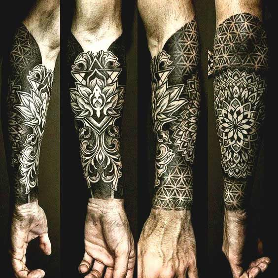 Mandala forearm sleeve tattoos