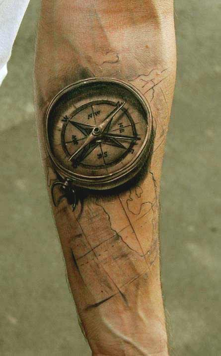 Compass tattoo on inner forearm ideas for boys
