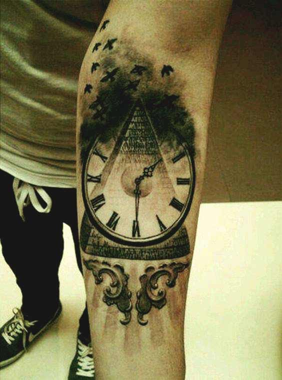 Clock and birds forearm tattoos