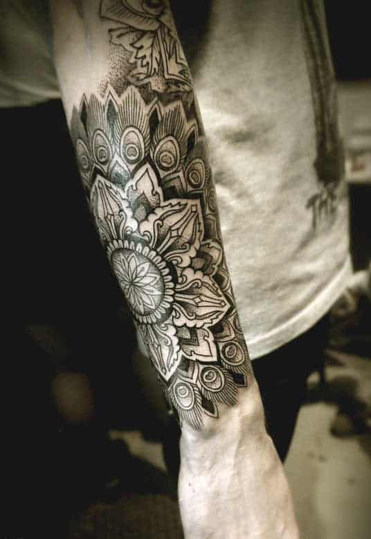 Mandala inner and outer forearm tattoo designs