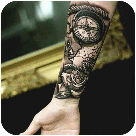 Compass and rose forearm outer tattoo designs