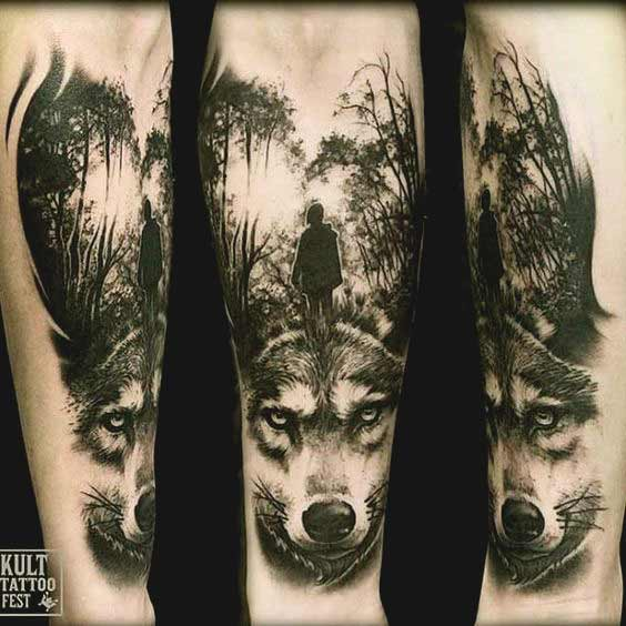 Wolf inner forearm tattoo ideas