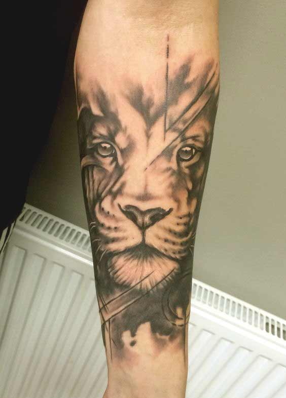 Lion tattoo designs on inner forearm
