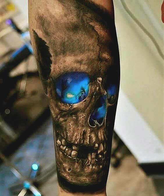 3d skull forearm tattoo designs