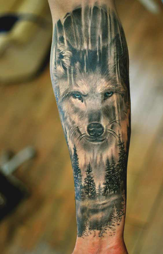 Wolf and tree tattoo designs