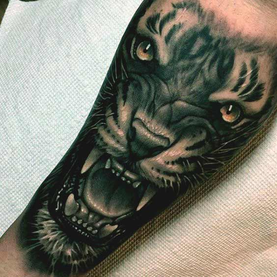 3d tiger face tattoo designs on forearm