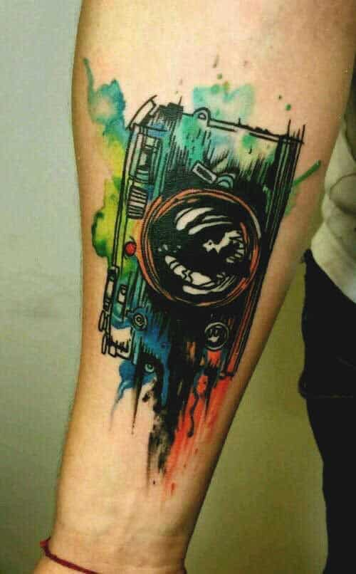 Watercolor camera tattoo design for forearms tattoos