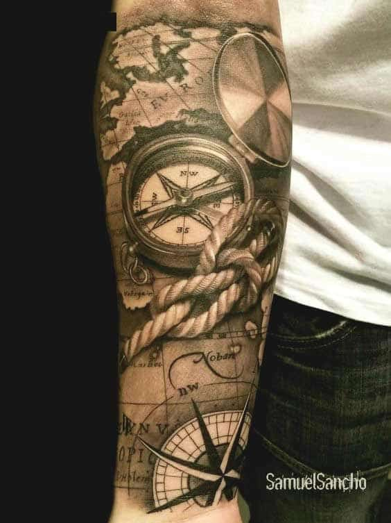 Cool compass forearm tattoo for men