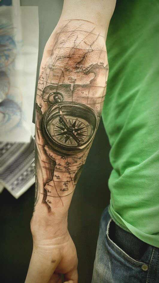 3d realistic compass watch tattoo