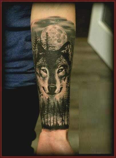 Cool Forrest and wolf head tattoo designs for forearms