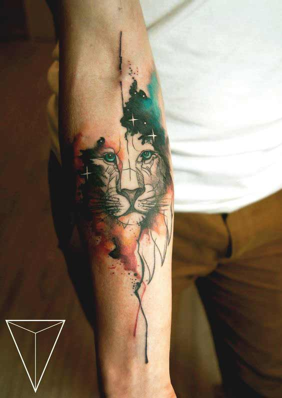 beautiful watercolor lion tattoo designs