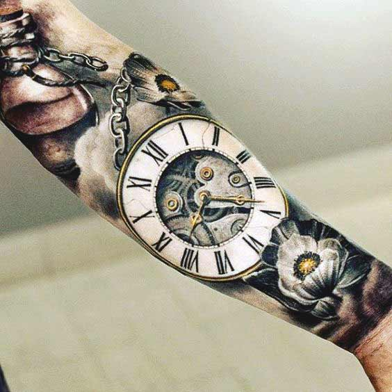 A clock tattoo design for forearm