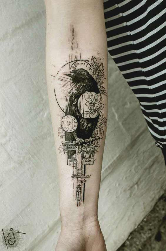 Raven tattoo designs for forearms