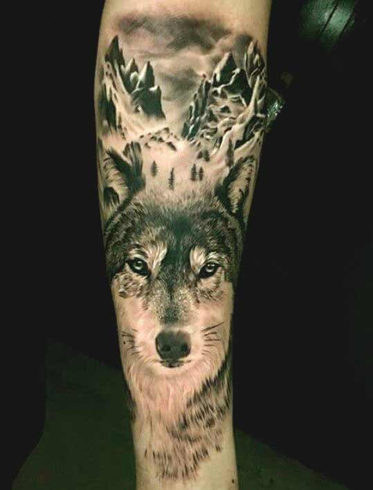 Wolf with mountain tattoo design for forearms
