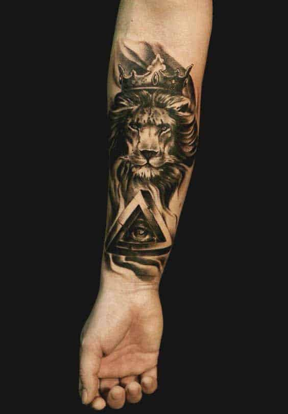Lion and geometric tattoos