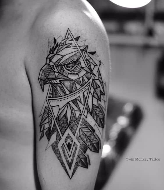 Geometrical eagle tattoo designs
