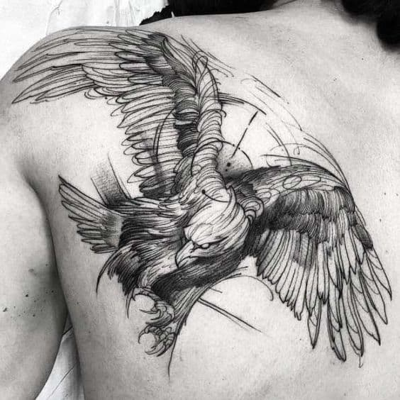 Eagle tattoos on back designs