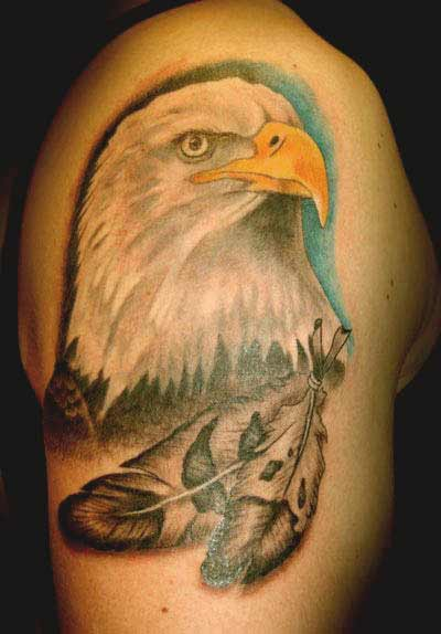 Eagle with feather tattoos designs