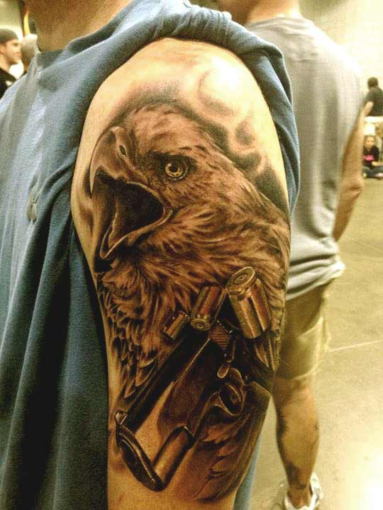 Eagle with machine tattoo designs
