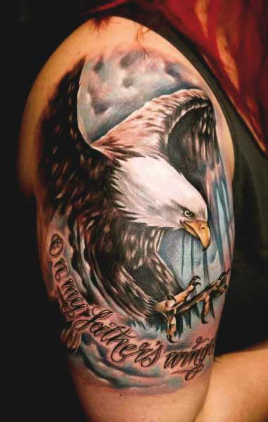 Eagle with quotes tattoos designs