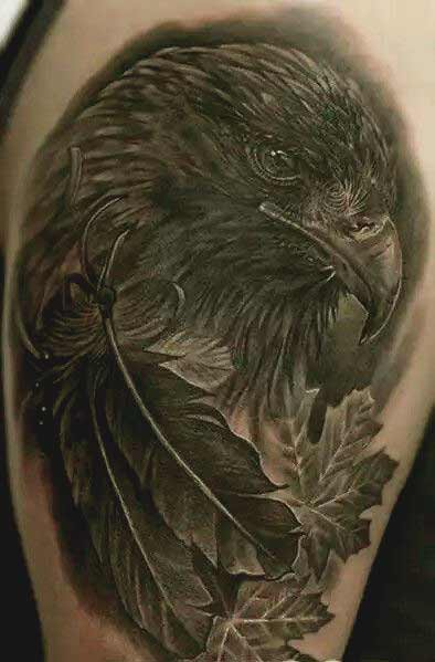 Eagle with feather tattoos