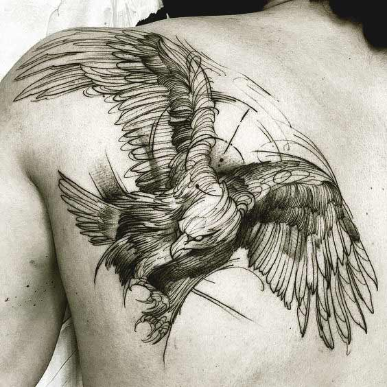 Elegant eagle tattoos designs on back