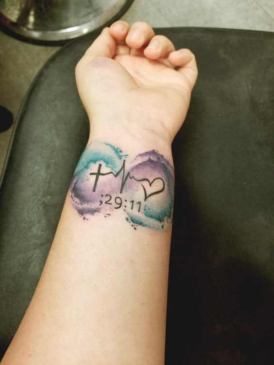 677f174db Watercolor faith hope and love tattoo on wrist ideas for boys and girls
