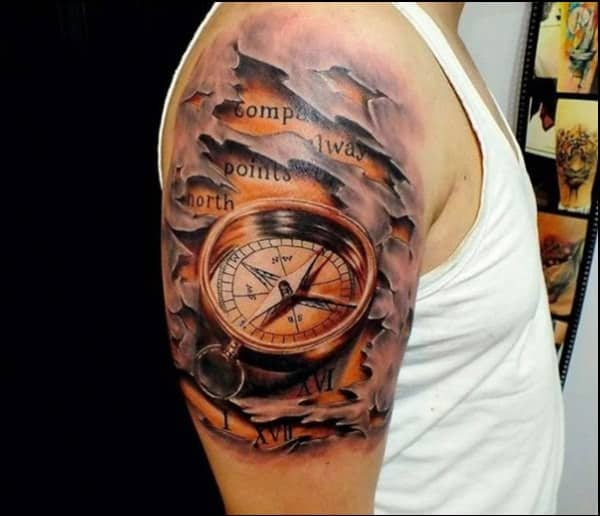 50 Latest Compass Tattoo Design And Ideas For Men And Women