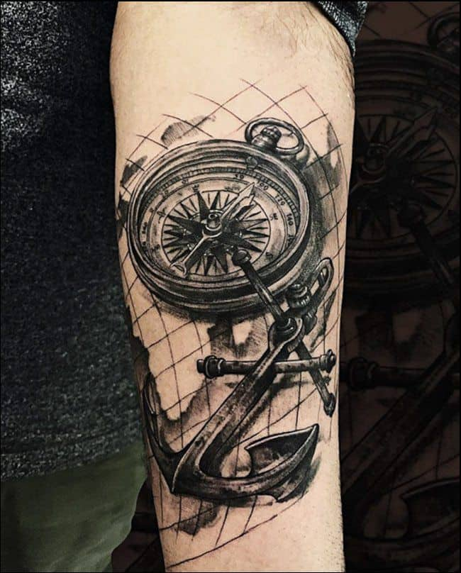 Compass Tattoo Men Leg Best Tattoo Ideas